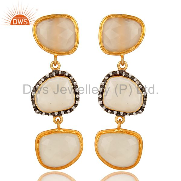 White Chalcedony 18K Yellow Plated Sterling Silver Dangle Earrings With CZ