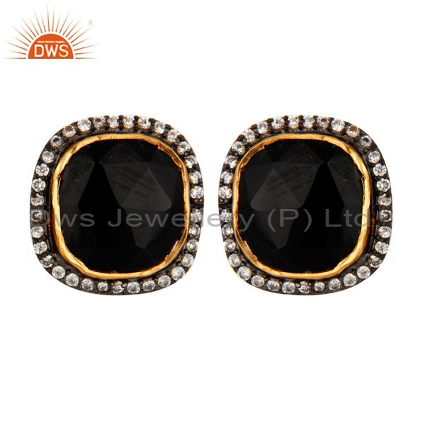 22K Gold Plated 925 Sterling Silver Black Onyx and Cubic Zirconia Stud Earrings