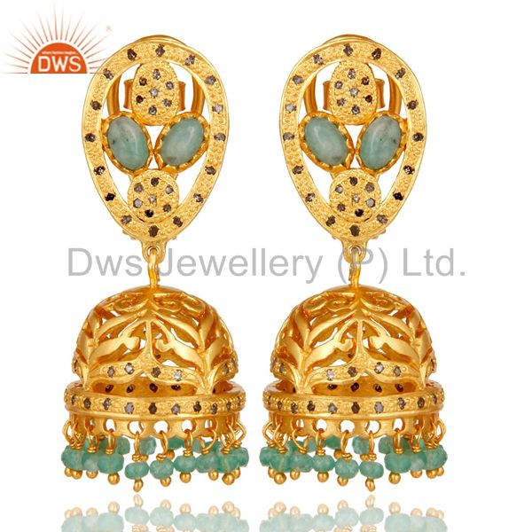 Emerald and Diamond 18K Gold Plated Sterling Silver Jhumki Earring