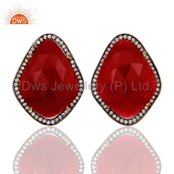 Natural Red Aventurine Gemstone & CZ Sterling Silver Gold Plated Clip On Earring