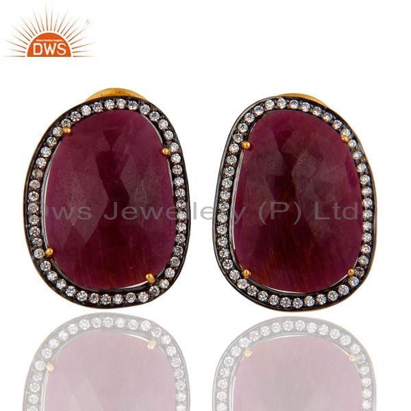 Handmade Natural Ruby Gemstone 18k Yellow Gold Plated Clip On Earrings With CZ Jewelry