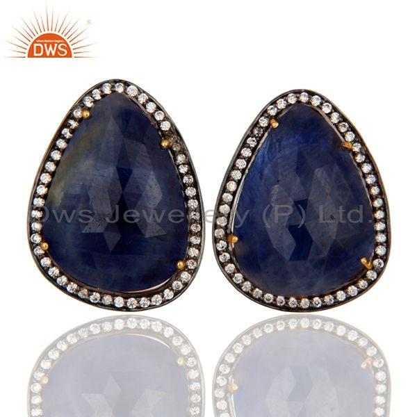 925 Sterling Silver Gold Plated Blue Sapphire Gemstone Clip On Stud Earrings Jewelry