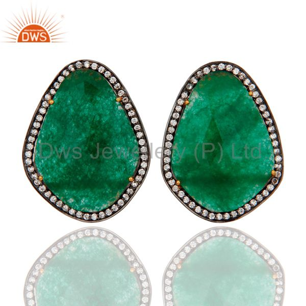 18K Yellow Gold Plated Sterling Silver Green Aventurine Stud Earrings With CZ
