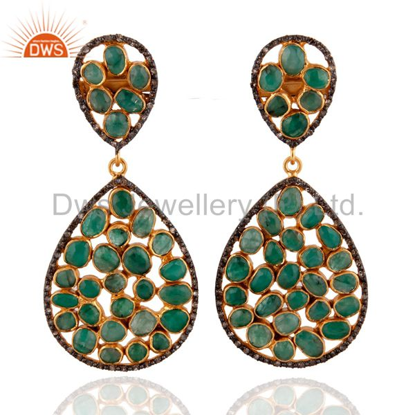 Emerald Pave Diamond Gold Plated 925 Sterling Silver Designer Dangle Earrings