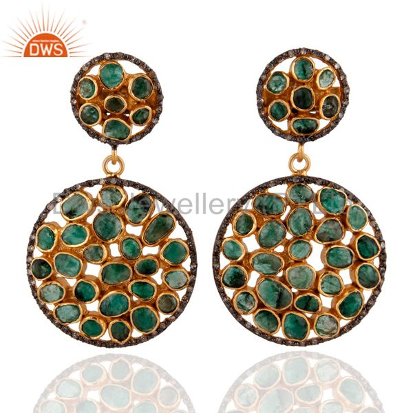 Emerald 18k Gold Plated Diamond Pave Dangle Earrings Sterling Silver Fine Jewelr