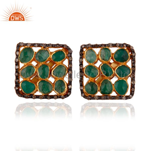Natural Diamond Rough Slice Emerald Stud Earrings 18k Gold GP 925 Silver Jewelry