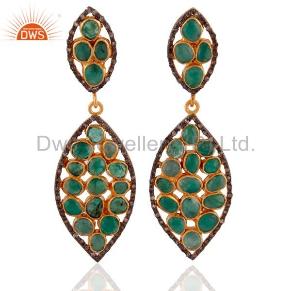 Pave Diamond .925 Sterling SIlver Emerald Slice Dangle Earrings With 24K Gold GP