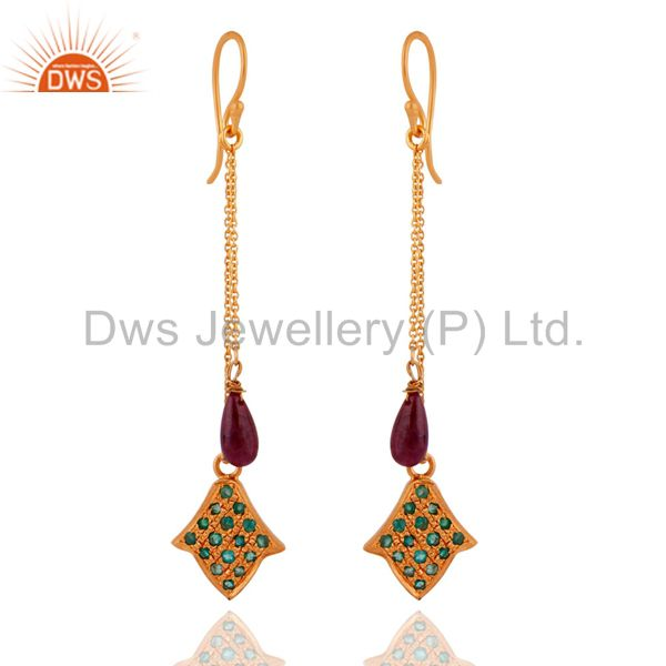 18k Gold Plated Over 925 Sterling Silver Eemerald Ruby Chain Dangle Earrings