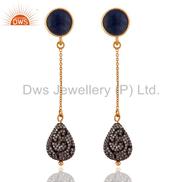 Natural Blue Sapphire Gemstones Dangle Pave Diamond 925 Silver Earrings Jewelry