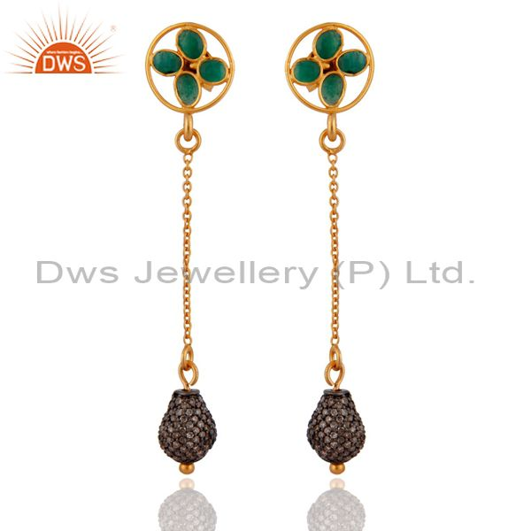18K Yellow Gold Plated Sterling Silver Pave Diamond And Emerald Dangle Earrings