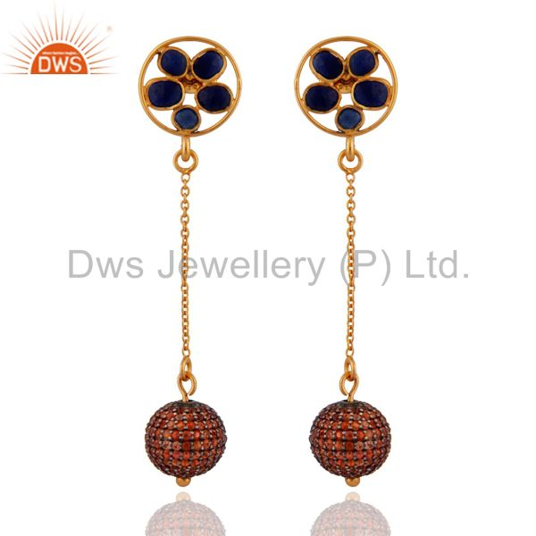 Pave Orange Sapphire Gemstone 18K Gold On Sterling Silver Chain Dangle Earrings
