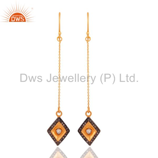 Indian Handmade 925 Sterling Silver Rose Cut Diamond Chain Earrings Jewelry