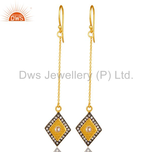 14K Yellow Gold Plated Sterling Silver Cubic Zirconia Chain Dangle Earrings