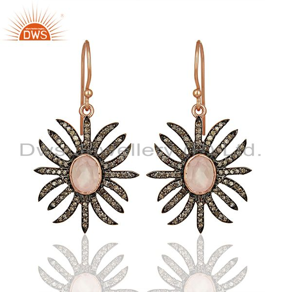 Rose Quartz Gemstone Diamond Earrings Jewelry Supplier Manufacturer