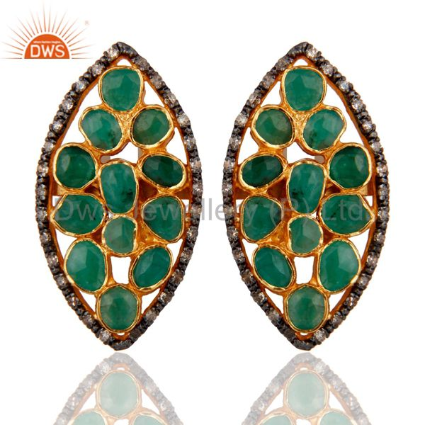 925 Sterling Silver Pave Diamond Natural Emerald Raw Gemstone Post Stud Earrings