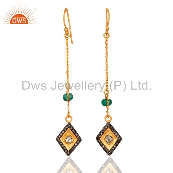 925 Sterling Silver Rosecut Diamond Emerald Beads Dangle Fashion Earrings