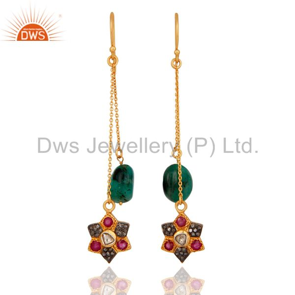 18K Gold Over Sterling Silver Rose Cut Diamond Ruby And Emerald Chain Earrings