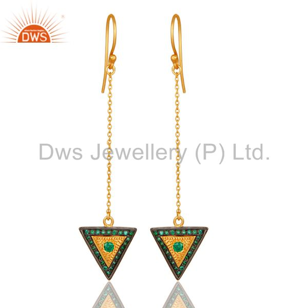 18K Gold Plated 925 Sterling Silver Handmade Green Zirconia Link Chain Earrings