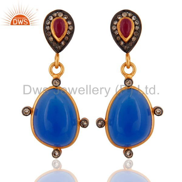 925 Sterling Silver Blue Chalcedony Pave Diamond Ruby Gemstone Drop Earrings