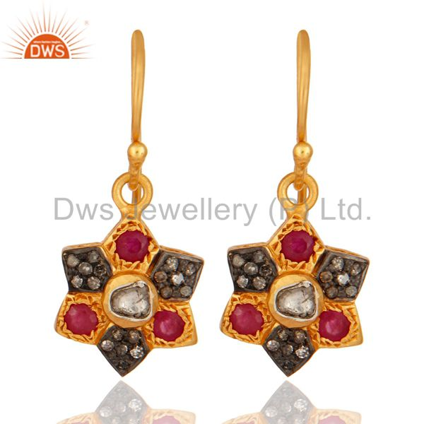 18K Yellow Gold Over 925 Sterling Silver Rose Cut Diamond  Ruby Gemstone Earring