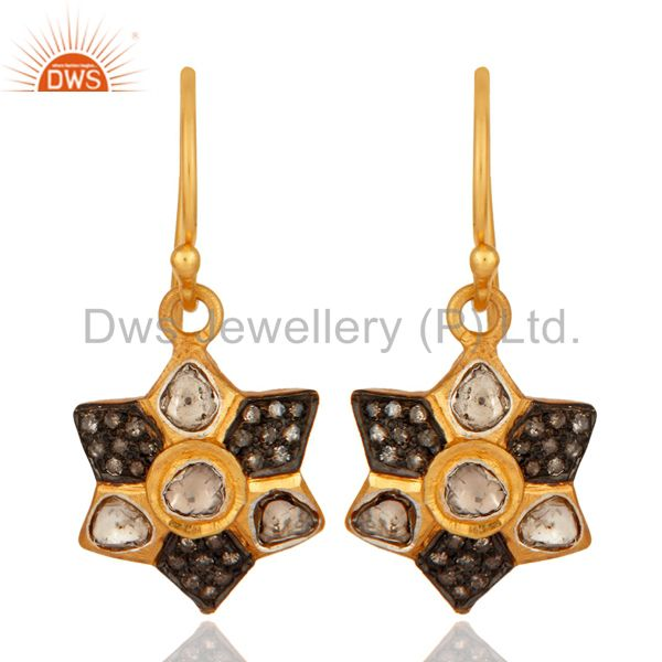 18K Yellow Gold Plated 925 Sterling Silver Rose Cut Diamond Designer Earring