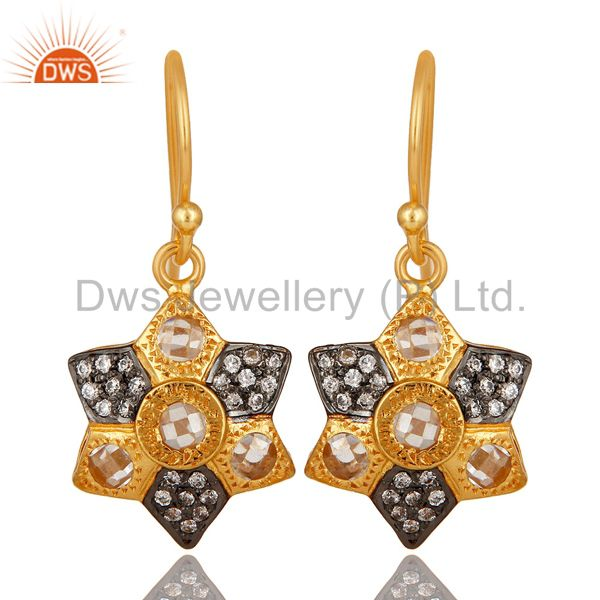 14K Yellow Gold Plated Sterling Silver Cubic Zirconia Designer Drop Earrings