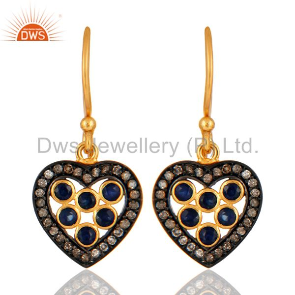 Blue Sapphire Gemstone Pave Diamond 925 Sterling Silver Heart Design Earrings