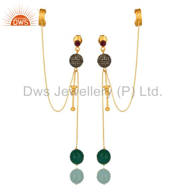 18K Yellow Gold Plated Silver Pave Set Diamond And Green Onyx Ear Cuff Earrings