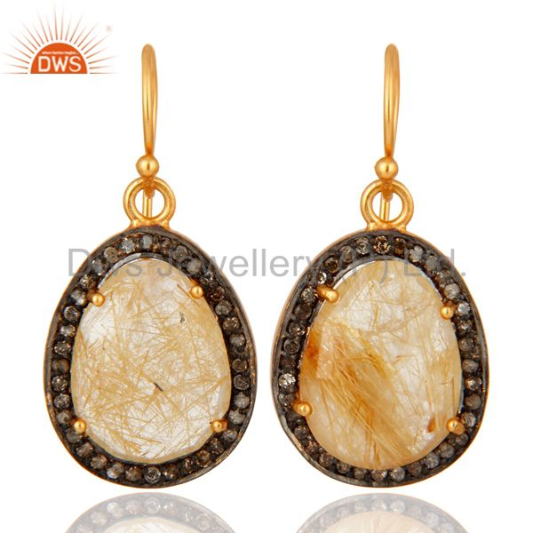 925 Sterling Silver Pave Diamond Rutilated Quartz Gemstone Drop Earrings