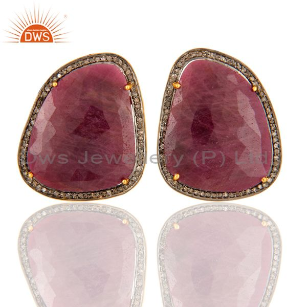 Ruby Pave Diamond 18K Gold Over 925 Sterling Silver Stud Earring New Arrival