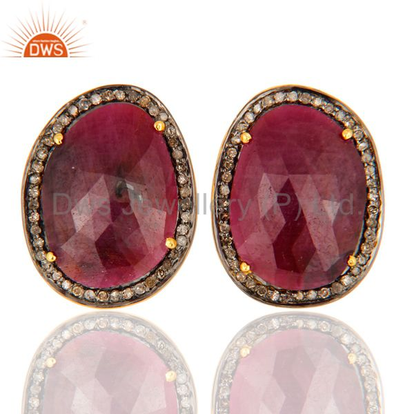 Glamorous Pave Diamond Sterling Silver Stud Earrings With Ruby Gemstone Jewelry