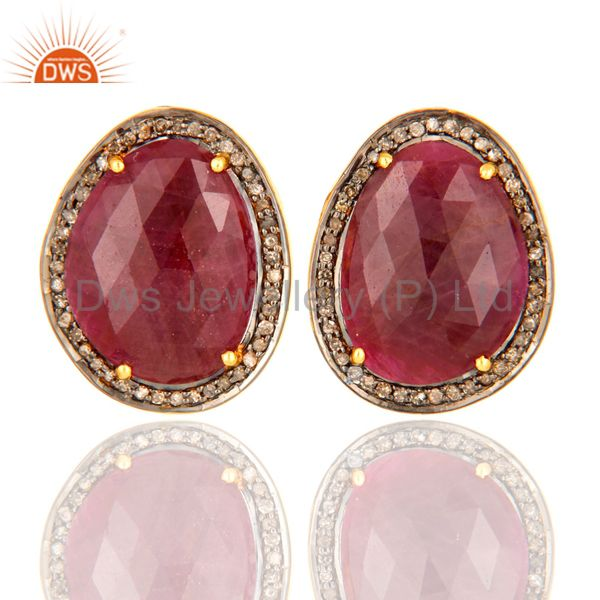 Unique Genuine Ruby Gemstone 925 Sterling Silver Diamond Accent Stud Earrings