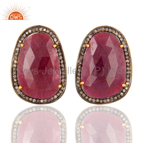 Natural Ruby Diamond Pave Sterling Silver Bridal Fashion Stud Earrings Jewelry