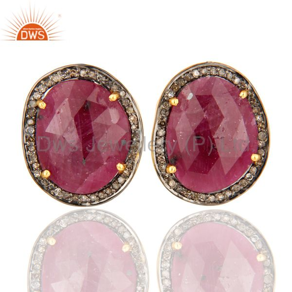 Handmade Ruby Stud Earrings Gold Plated 925 Silver Pave Diamond Fashion Jewelry