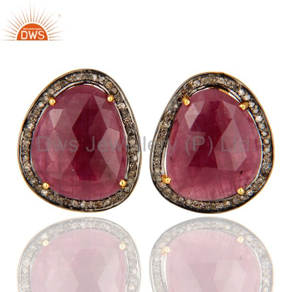 Pave Diamond Ruby Gemstone Women Stud Earrings Handmade Sterling Silver Jewelry