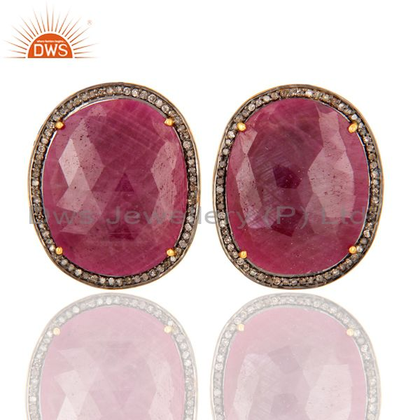 Handmade 925 Sterling Silver Ruby And Pave Diamond Womens Stud Earrings