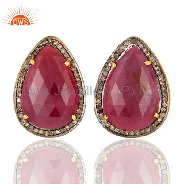 18K Yellow Gold Plated 925 Sterling Silver Pear Shape Ruby Diamond Earring Studs