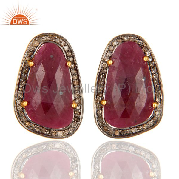 925 Sterling Silver Pave Diamond & Ruby Gemstone Antique Look Studs Earrings