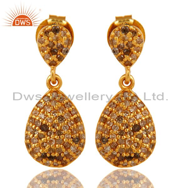 18K Yellow Gold Over Sterling Silver Pave Set Diamond Dangle Earrings