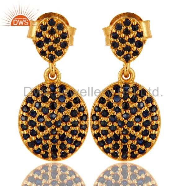 Pave Set Blue Sapphire 18K Yellow Gold Over Sterling Silver Dangle Earrings