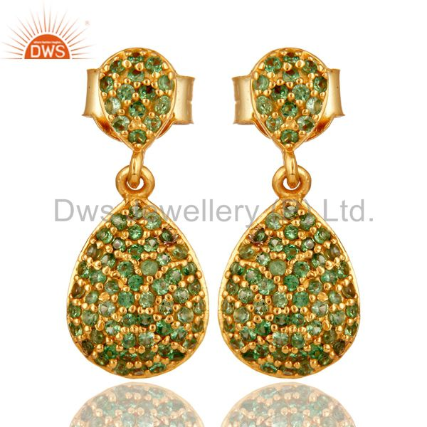 Pave Set Tsavourite 18K Yellow Gold Over Sterling Silver Dangle Earrings