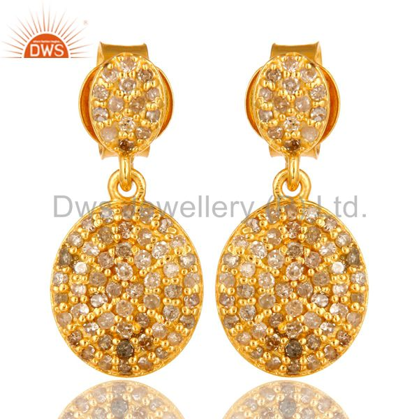 14K Yellow Gold Sterling Silver Pave Set Diamond Drop Dangle Earrings
