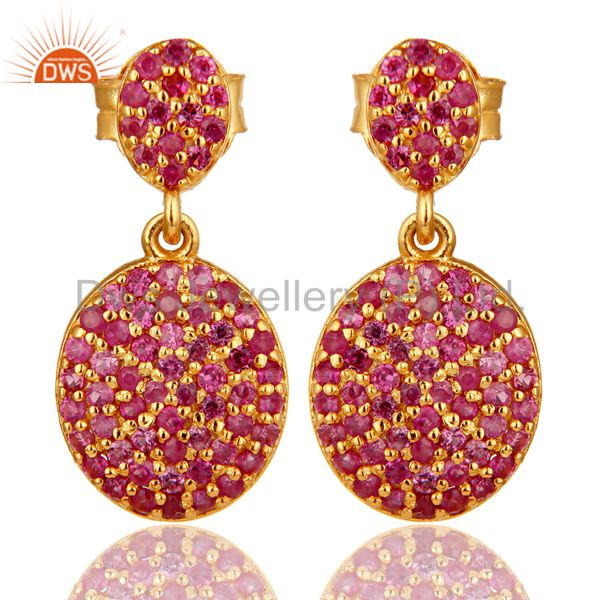 14K Yellow Gold Sterling Silver Pave Set Ruby Drop Dangle Earrings