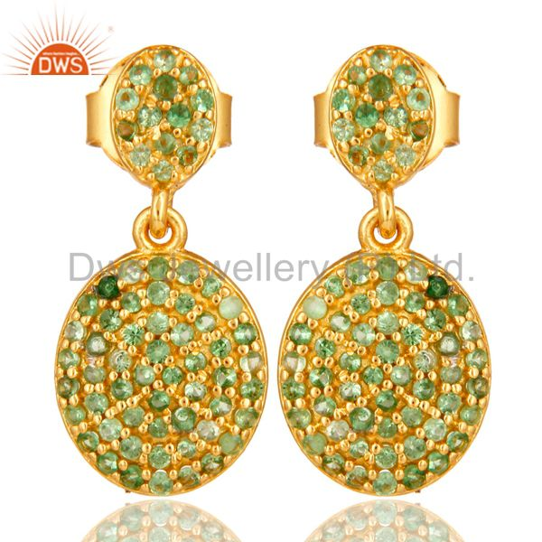18K Yellow Gold Plated Sterling Silver Tsavorite Gemstone Cluster Dangle Earring