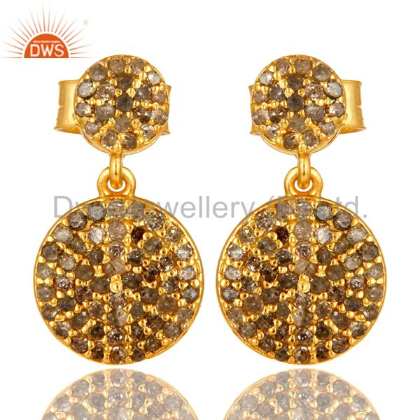 14K Yellow Gold Sterling Silver Pave Set Diamond Disc Dangle Earrings