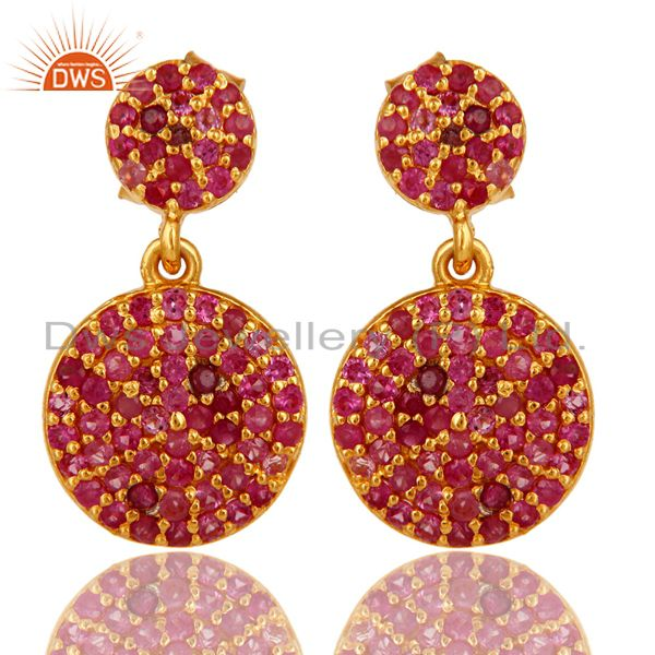 18k Yellow Gold Plated Sterling Silver Genuine Ruby Designer Earrings