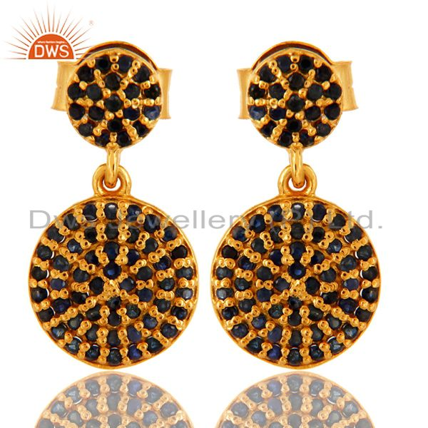 18k Yellow Gold Plated Sterling Silver Blue Sapphire Designer Earrings