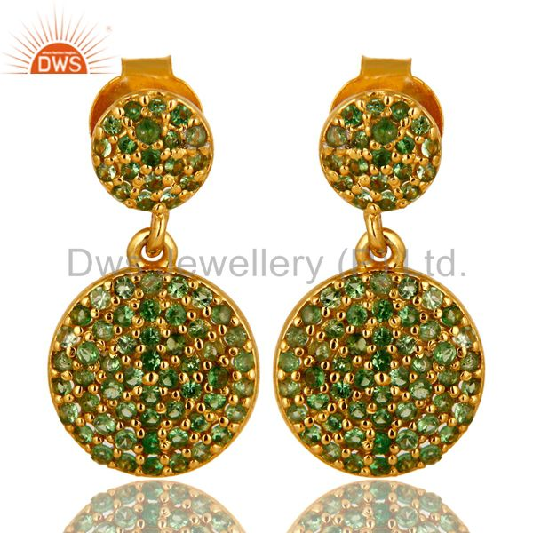 14K Yellow Gold Plated Sterling Silver Pave Set Tsavorite Double Dangle Earrings