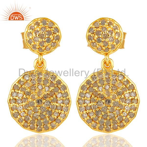 Pave Set Diamond Disc Dangle Earrings Made In 14K Yellow Gold On Sterling Silver