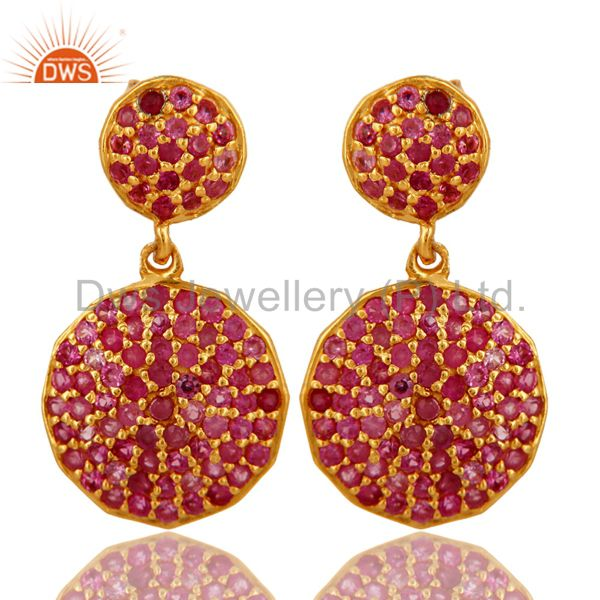 18k Gold Plated Sterling Silver Ruby Gemstone Designer Earrings